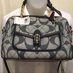 Coach Poppy Quilted Signature Denim Pocket Satchel